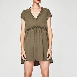Zara khaki mini dress with frills
